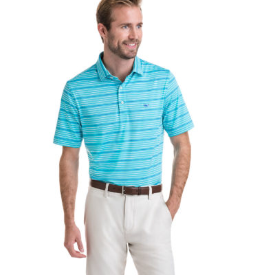 Vineyard Vines, Swindell Stripe Sankaty Performance Polo, Turqs