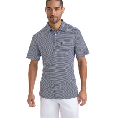 Vineyard Vines, Feeder Stripe Edgartown Polo, Deep Bay
