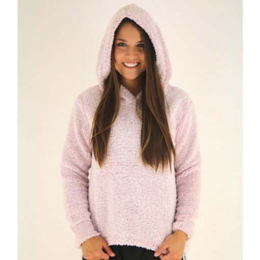 Dylan Cozy Hoodie With Reverse Cuff, Pink