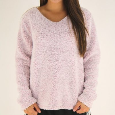 Dylan Fleece V-Neck, Pink